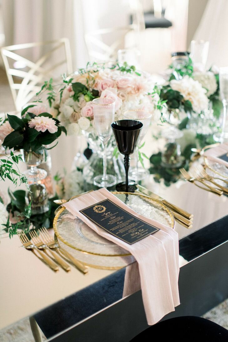 Blush-and-Black Place Settings at Luxurious Bel-Air Bay Club Wedding in California