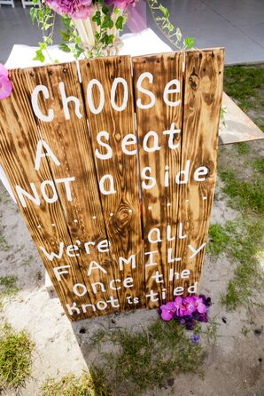Exposed-Wood Wedding Sign