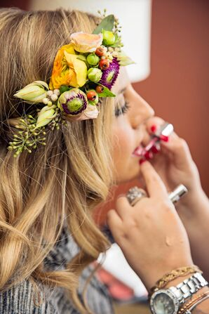 Colorful Flower Crown With Seeded Eucalyptus
