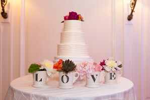 LOVE Mugs and White Wedding Cake