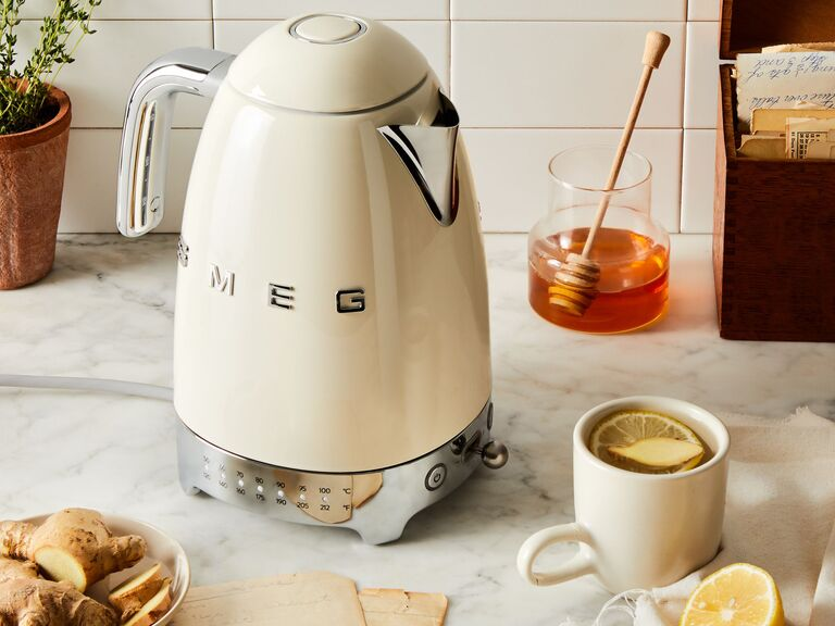 Cream SMEG kettle on counter top modern fourth anniversary gift idea