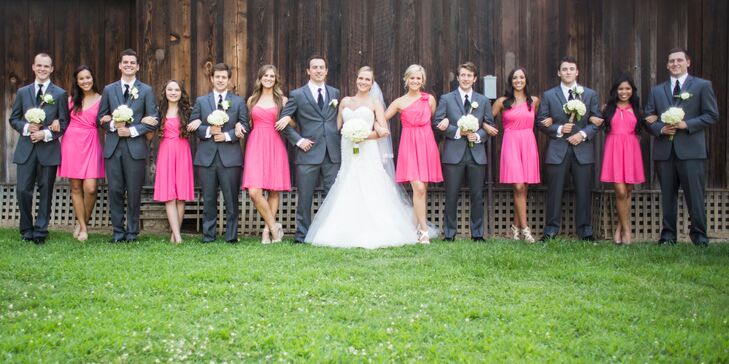 Bride and Groom with Pink and Gray Wedding Party