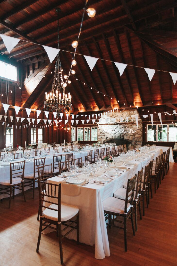 Long Tables and Fireplace at Reception