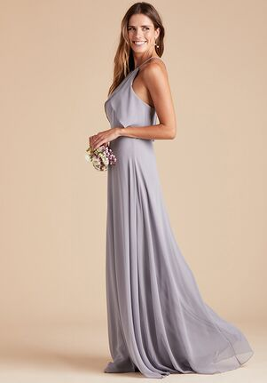 Birdy Grey Jules Chiffon Dress in Silver Halter Bridesmaid Dress