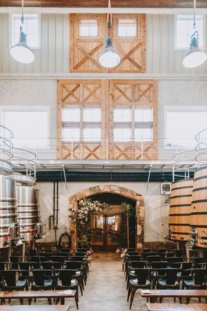 Modern, Rustic Ceremony at Stone Tower Winery in Leesburg, Virginia
