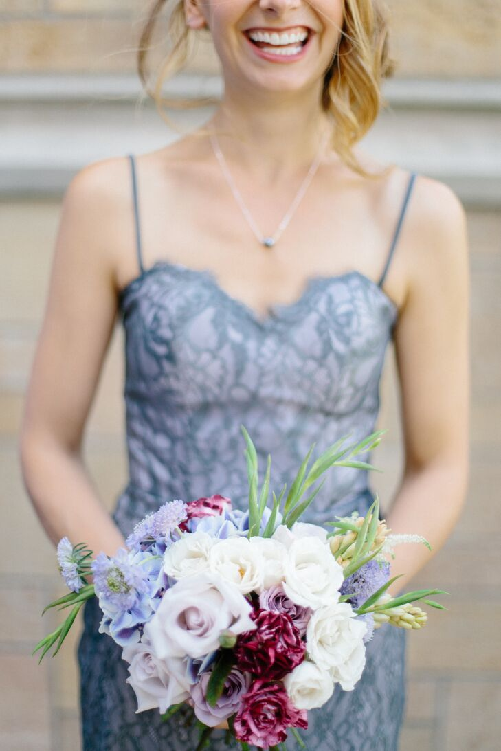 Purple Bridesmaids Dress with Grey Lace