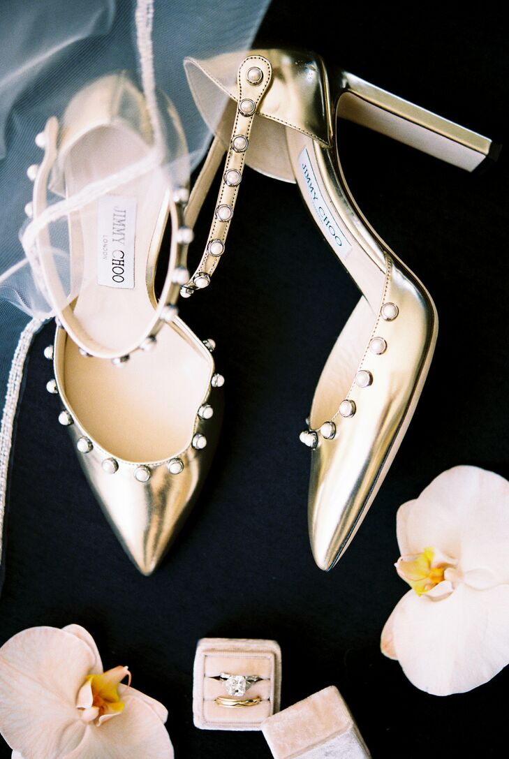 Metallic Gold Jimmy Choo Wedding Shoes