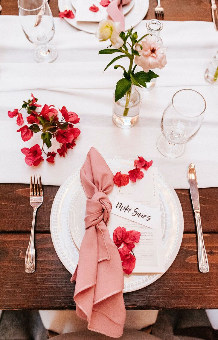 Pink Place Setting for Glam Wedding at Sandbox in San Diego, California