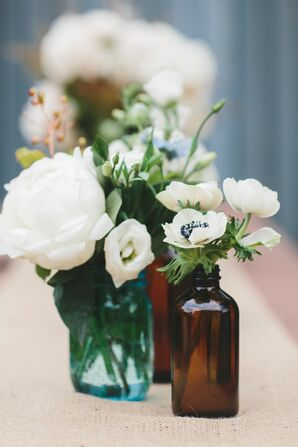 White Flowers in Vintage Medicine Jars