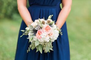 Navy Bridesmaid Dress and Peach and White Roses