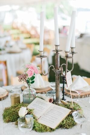 Sheet Music and Vintage Candelabra Centerpiece
