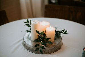 Ivory Pillar Candle and Greenery Centerpiece