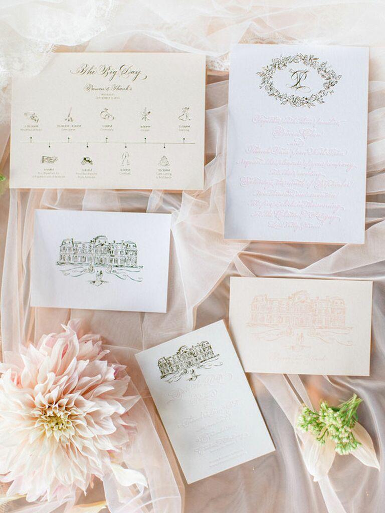 Elegant blush and white regencycore wedding invitations with calligraphy