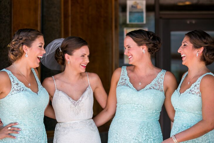 """""""I took the bridesmaids to David's Bridal and pulled anything in the mint green that fit the 1920s theme,"""" Lindsey says. """"After trying on several dresses, we settled on a short lace dress with a V-neck."""""""