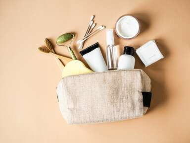 Bride's wedding day emergency kit with beauty and makeup essentials