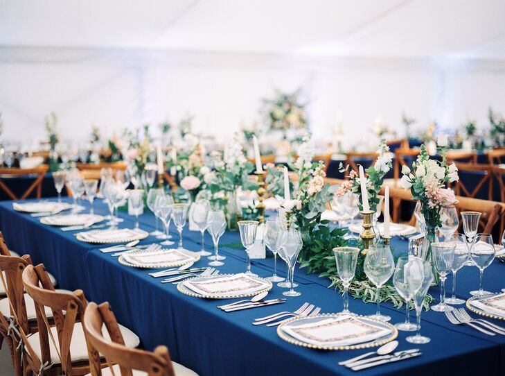 Navy Reception Tables and Wood Cross-Back Chairs