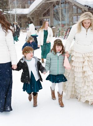 Guests Wearing Coats for Winter Wedding at Jackson Hole Mountain Resort in Teton Village, Wyoming
