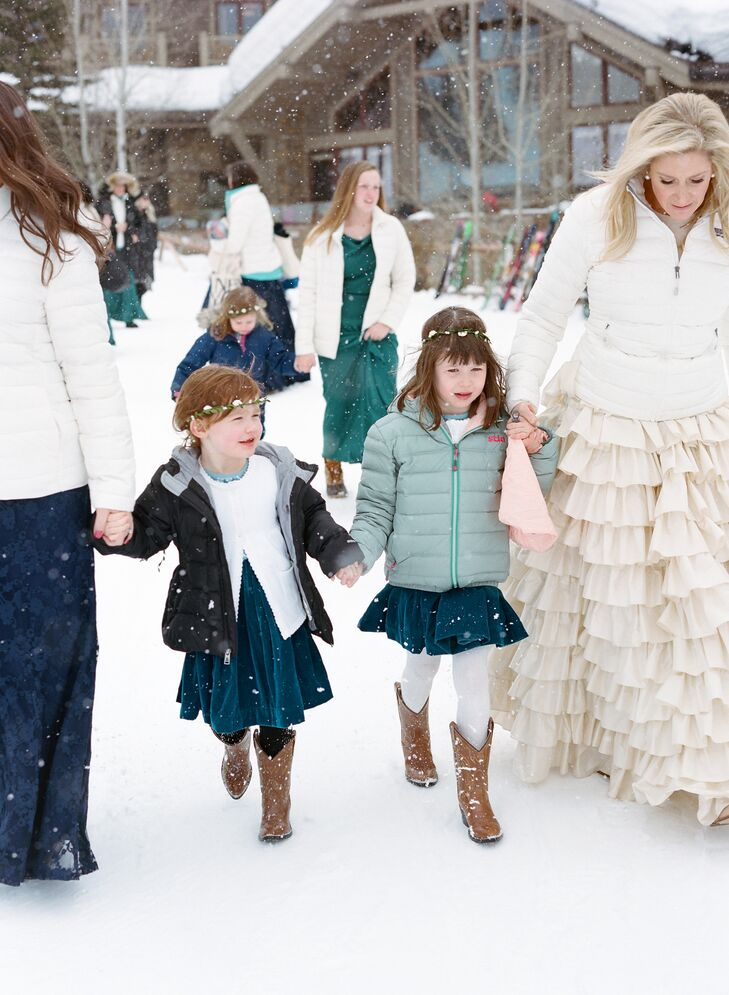 Guests Wearing Coats for Winter Wedding at Jackson Hole