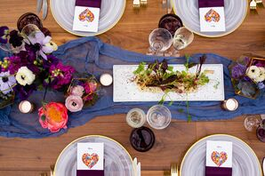 Eclectic Blue Table Runners and Colorful Centerpieces