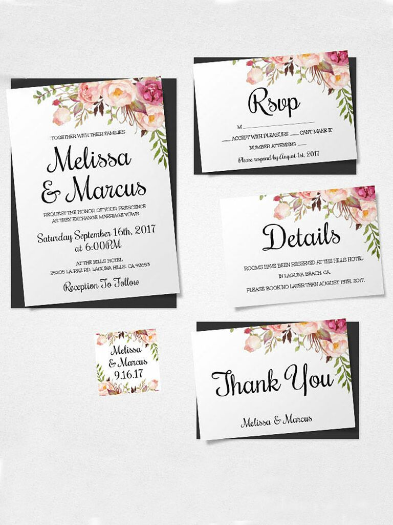 16 printable wedding invitation templates you can diy boho florals printable wedding template stopboris Images