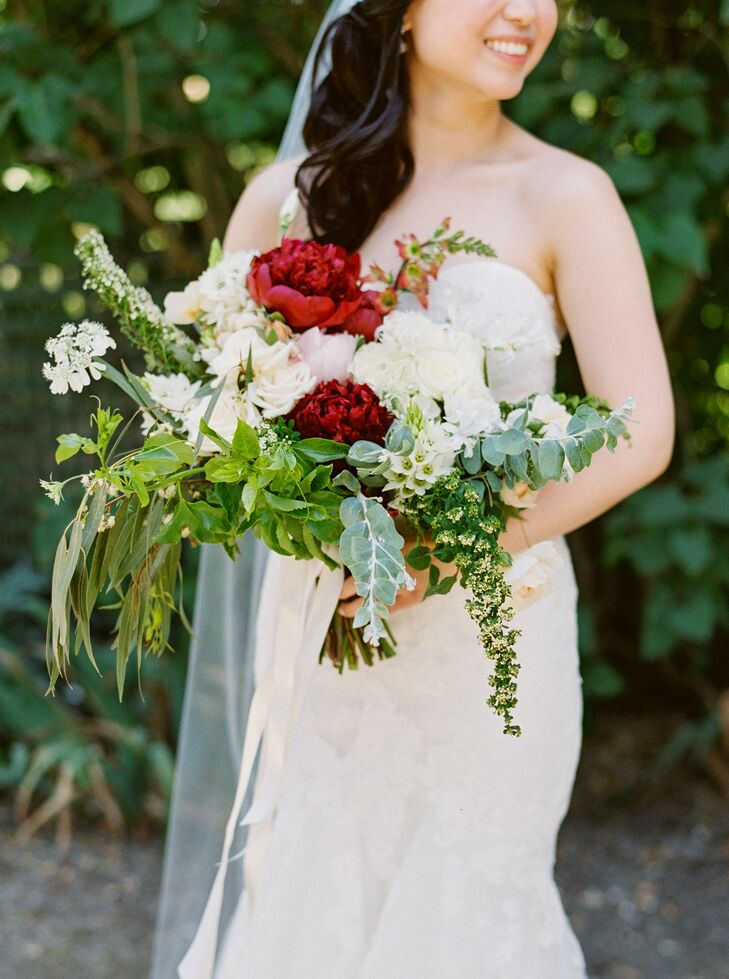 Cascading Eucalyptus, Peony and Mixed Greenery Bouquet