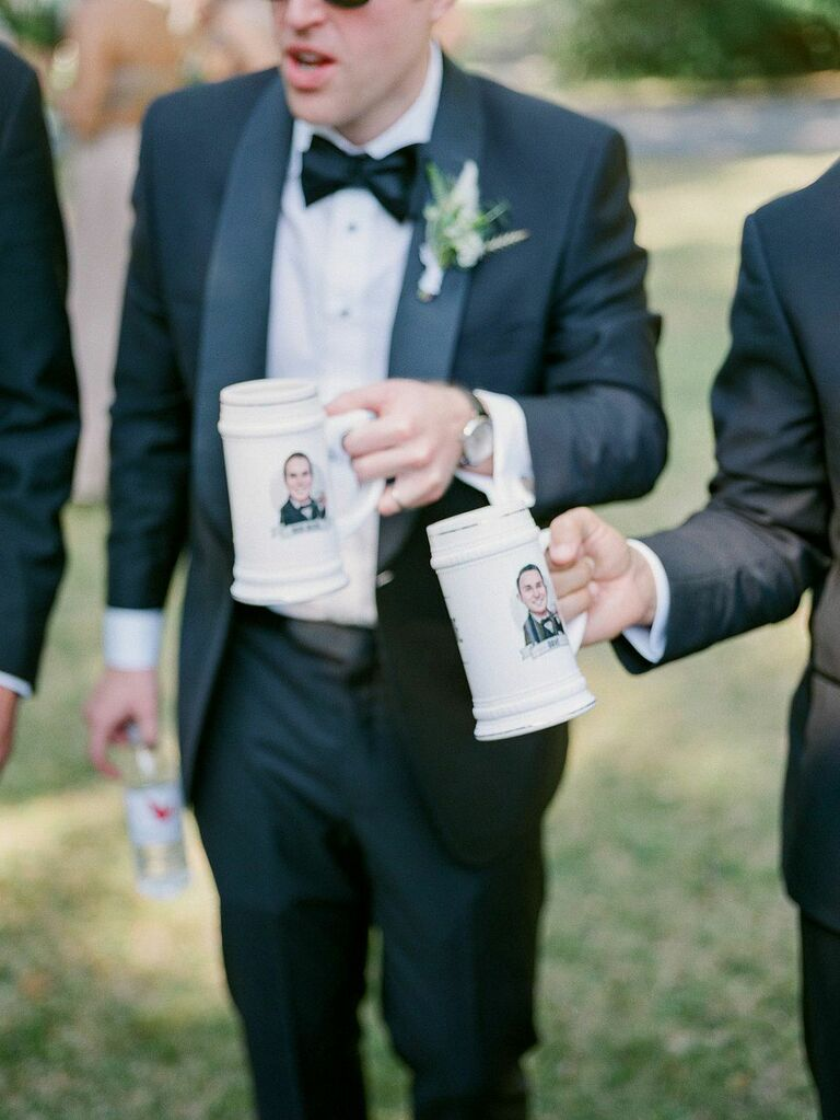 Custom groomsmen gift personalized beer mugs