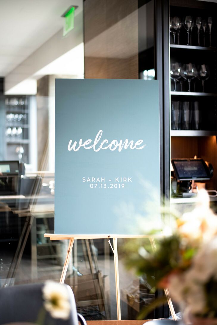 Dusty Blue Wedding Welcome Sign in Boston