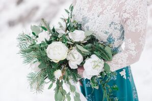 Wintry White Rose and Pine Bouquet