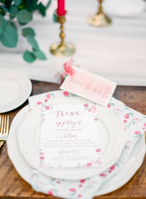 Simple White China with Red Floral Menu Cards