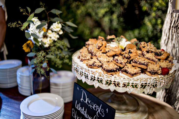 The bride and groom wanted food to be a major focus of their wedding. They provided extensive appetizers as well as a fully-stocked dessert bar with assorted gourmet treats.