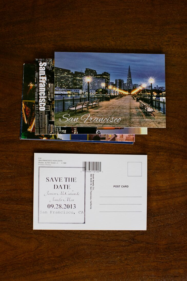 Save-the-Dates were postcards of San Francisco, where the couple lived and fell in love.