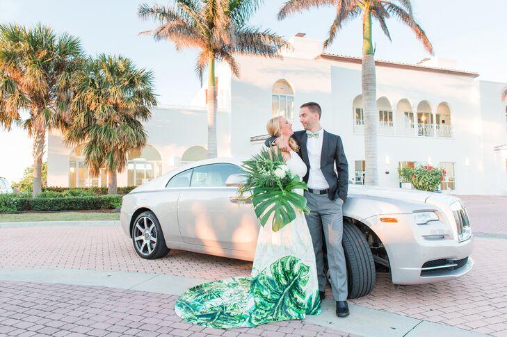 Asymmetrical Wedding Dress with Tropical Leaf Print