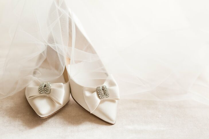 White Satin Kate Spade Shoes with Bows and Embellishment