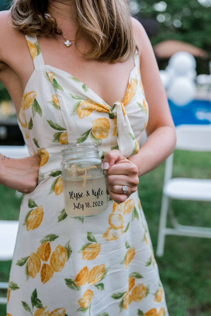 Lemon-Patterned Dress at Backyard Minimony in New York