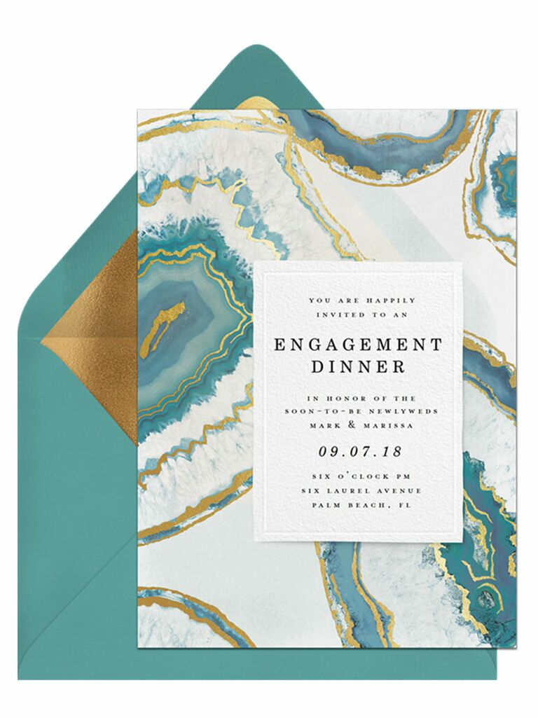 Blue agate engagement party invitation