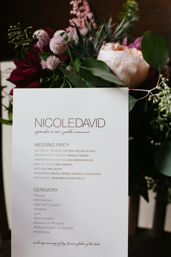 The programs were simple, yet sophisticated and printed in a modern font on white card stock.