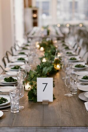 Simple Table Number at Modern Loft Wedding in New York City