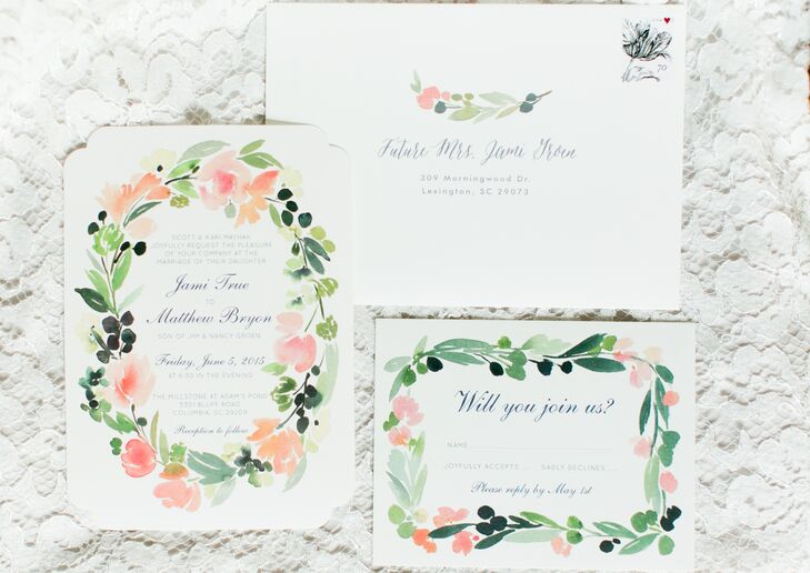 """Jamie and Matt decided to splurge a little bit on stationery. """"We had inserts that fitted to the inside of the invites so that when you opened it you would see this pretty floral print,"""" the bride says. Also purchased were envelopes that matched the design of the floral printed invitations."""