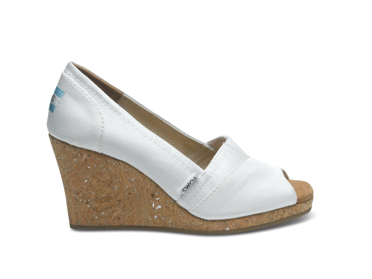 Tom's white wedding wedges
