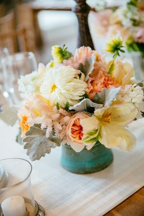 Low Garden Rose, Lily and Dahlia Centerpiece