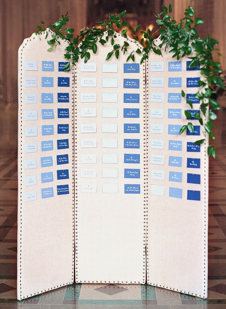 Blue Ombre Escort Card Display with Greenery