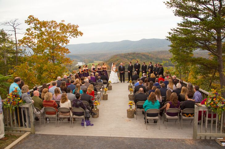 The ceremony was held outdoors, with stunning views of Massanutten Mountain and the Shenandoah Valley in the fall.