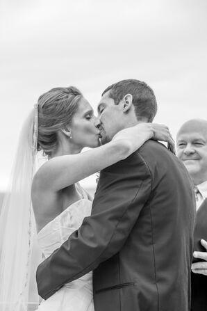 First Kiss at Natural, Rustic Wedding