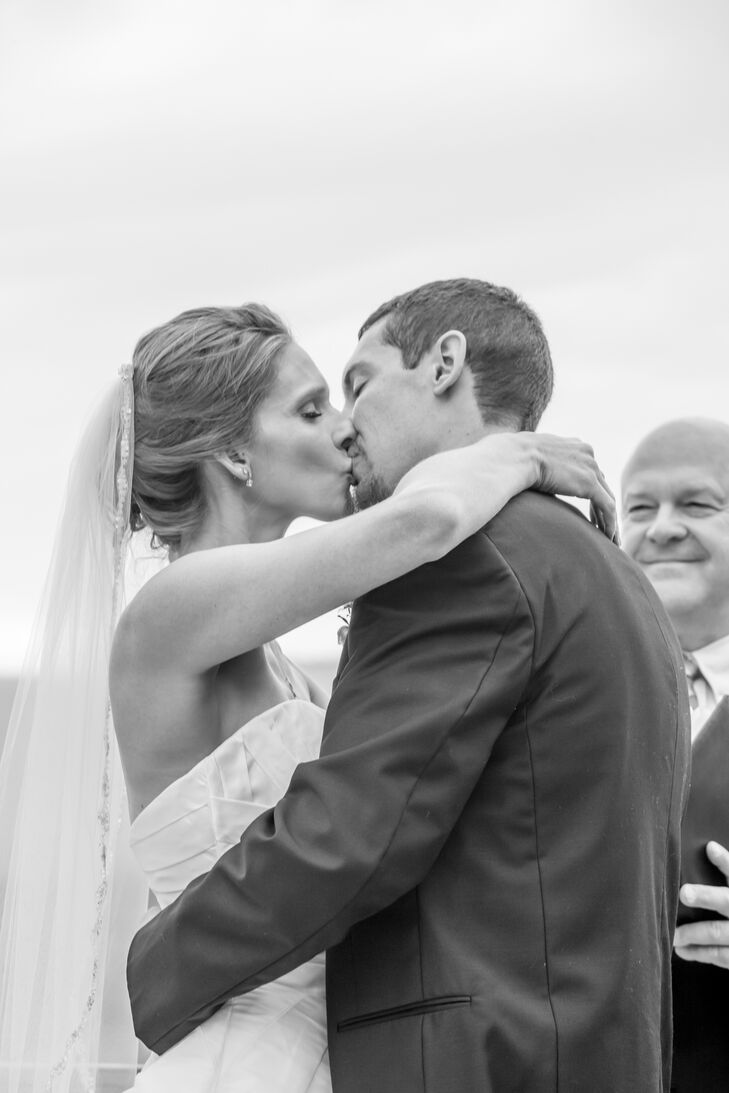 First Kiss at Natural, Rustic Wedding