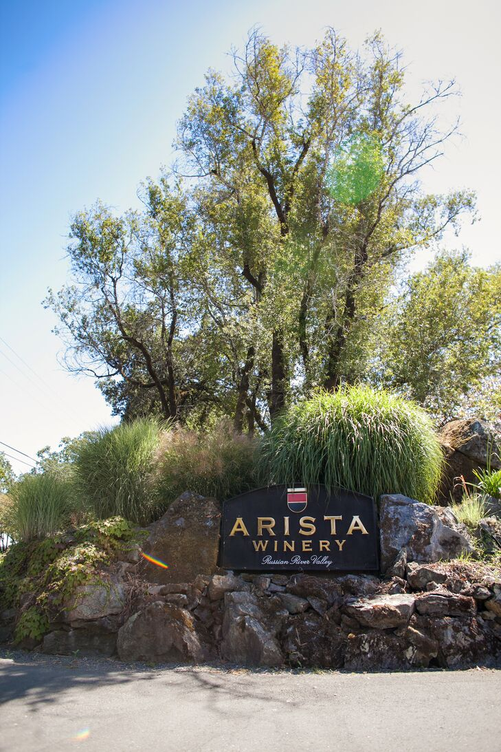 """The wedding took place at Arista Winery in Sonoma County,"" says Kristin. ""We chose the location because we love Sonoma andrnwine country, and the property at Arista is simply gorgeous. We didn't need to add much to the scenery, we could just let the natural beauty of the setting come through."""