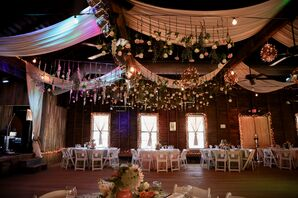 Draped Barn Ceiling With Hanging Wildflowers