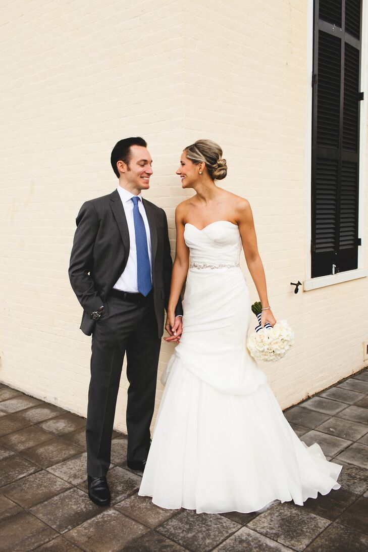 """After the 4th dress, I tried on a stunning jacquard silk Monique Lhuillier 'Peony' dress in a creamy white and it felt perfect. It was classic, simple, unique, comfortable and memorable. My mom and I started crying as they put on an elbow length veil and crystal beaded belt. It was everything I dreamed of