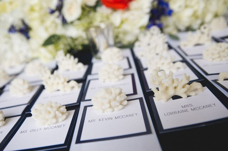 """The escort cards were fitted into individual pieces