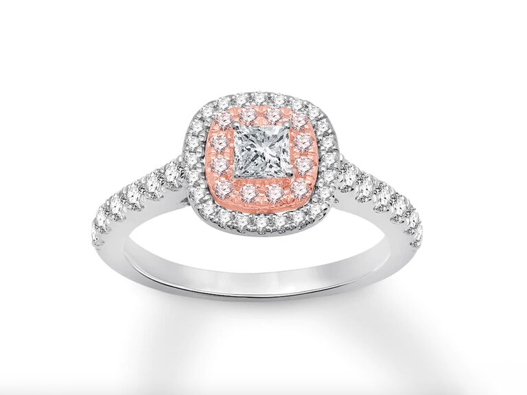 Kay Jewelers pink and white certified diamond engagement ring with 1-carat total weight in 14K gold