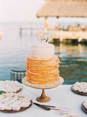 Orange and White Ombre Ruffle Wedding Cake